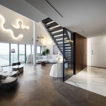 Luksusowy parkiet trapezowy SLIDE Tortora - penthouse Zaha Hadid