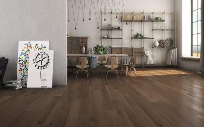Dębowe dseski podłogowe TUSCANIA w stylu nowoczesnej stodoły.