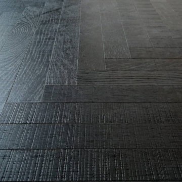 Postarzane deski jodełka klasyczna ERICE - czarny parkiet heblowany poprzecznie